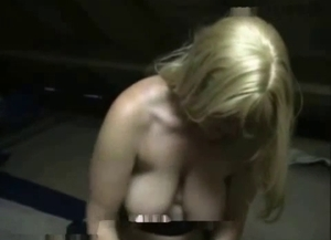 MILF with huge tits having sexual entertainment with her pet