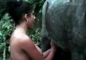 Zoophile and a stallion are having fun titjob action